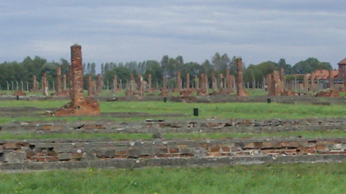 Birkenau, remains of gass chamber/cremitorium destroyed by Nazi to hide evidence