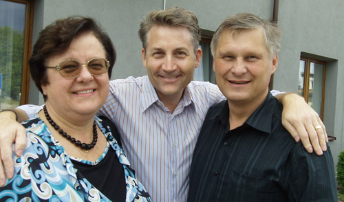Brad Mattes with Eva and Lech Kowalewski, pro-life leaders of Poland