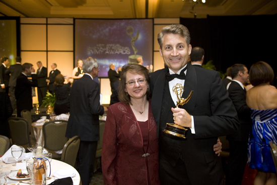 Brad and Ellen Mattes celebrate at the Emmy® Award ceremony