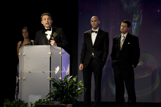 Brad Mattes accepting the Emmy® Award